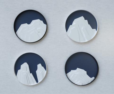 新中式假山圆形墙饰挂件 假山假石圆形墙饰挂件 深蓝色圆形挂件
