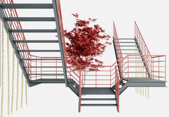 工业风转角楼梯 扶手 树 摆件