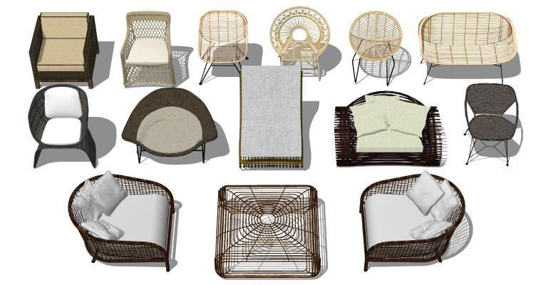 现代户外桌椅 藤椅 竹编椅