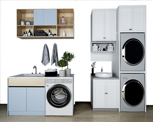 现代洗衣机柜 浴室柜 滚筒洗衣机