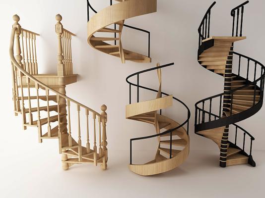 日式旋转楼梯 扶手 栏杆楼梯