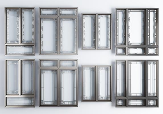 新中式风格窗户 铝合金窗户窗框组合