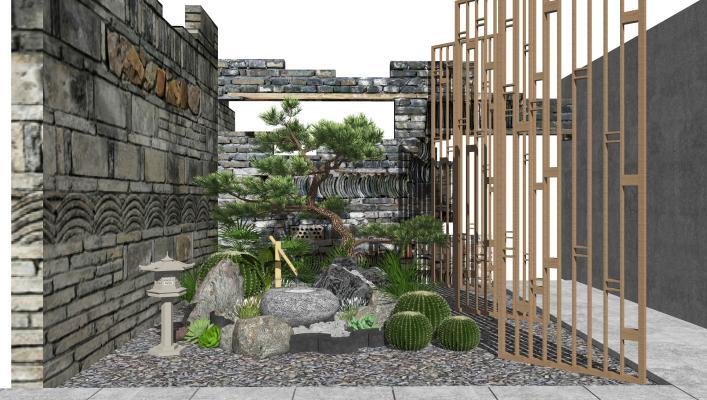 新中式景观小品 庭院景观 跌水景观 隔断 景墙