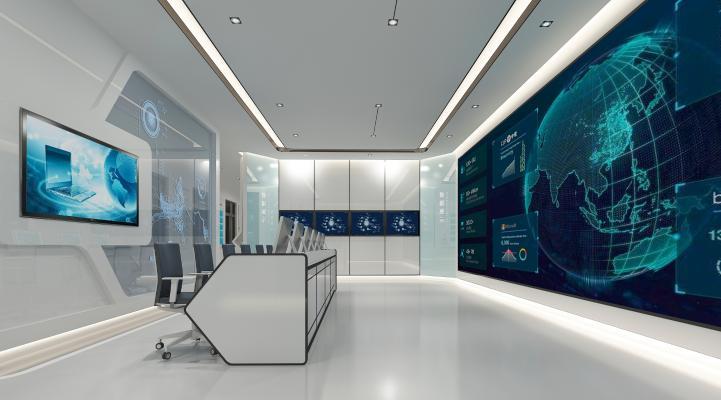 现代智能展厅 桌椅 显示屏