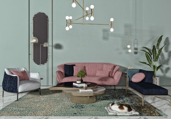 现代客厅 多人沙发 吊灯
