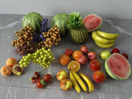 现代食物 水果 西瓜 桃子