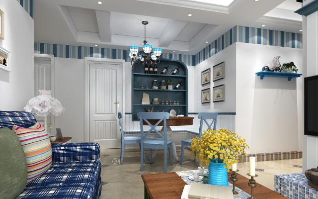 地中海客餐厅 沙发 茶几 餐桌椅