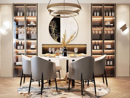 新中式餐厅 餐桌椅组合