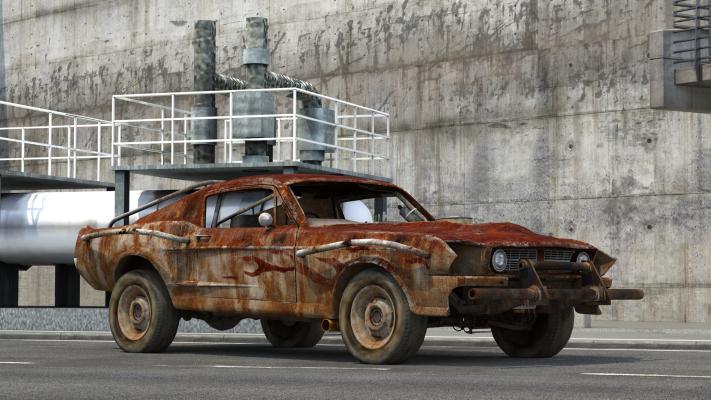 现代废弃汽车