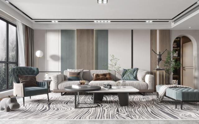 現代客廳,多人沙發,單人椅,軟塌,茶幾,邊幾,落地燈,雕像,綠植