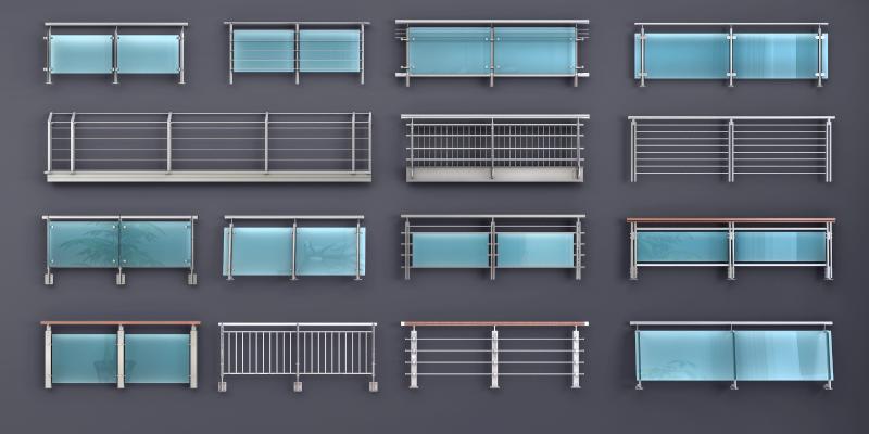 现代玻璃栏杆护栏扶手