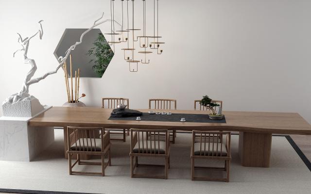 新中式茶桌 竹子