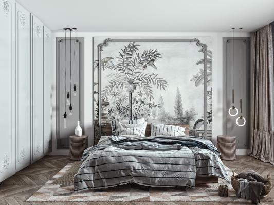 歐式简约双人床组合 床头柜