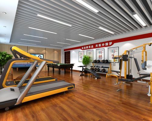 现代党建健身房 健身器材 台球桌