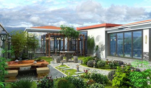 中式庭院 中式景观园林 景观 植物 树 假山 石墩