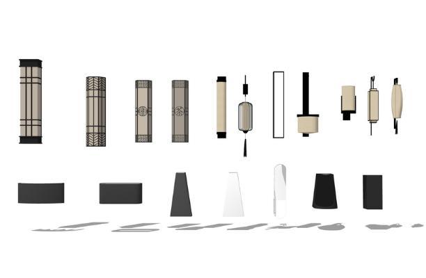 中式壁灯组合SU模型