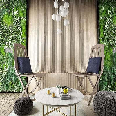 现代户外绿植躺椅吊灯植物墙 现代躺椅 单椅 茶几 吊灯 植物墙