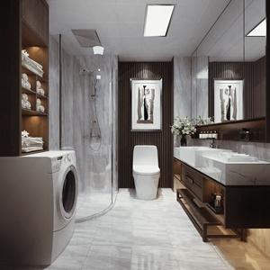 现代卫生间 现代卫浴 马桶 浴室柜 洗衣机 淋浴间 挂画 香薰 花艺