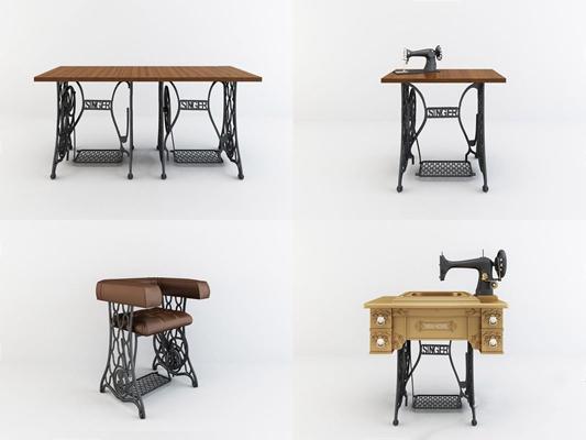 工业风缝纫机桌椅 工业风桌椅 缝纫机 衣车