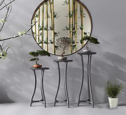 新中式花架 新中式装饰架 盆栽 竹子 绿植 花架