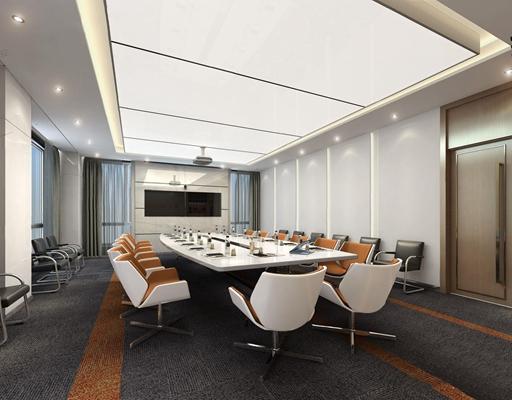 会议室 现代会议室 会议桌 椅子 投影仪 吊顶