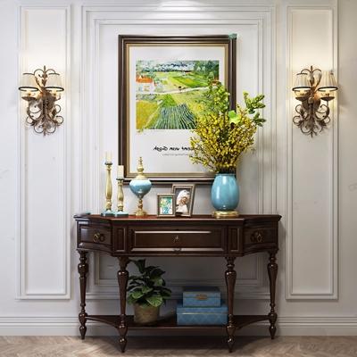 美式玄关柜 美式边柜/玄关柜 挂画 壁灯 花艺 饰品 摆件