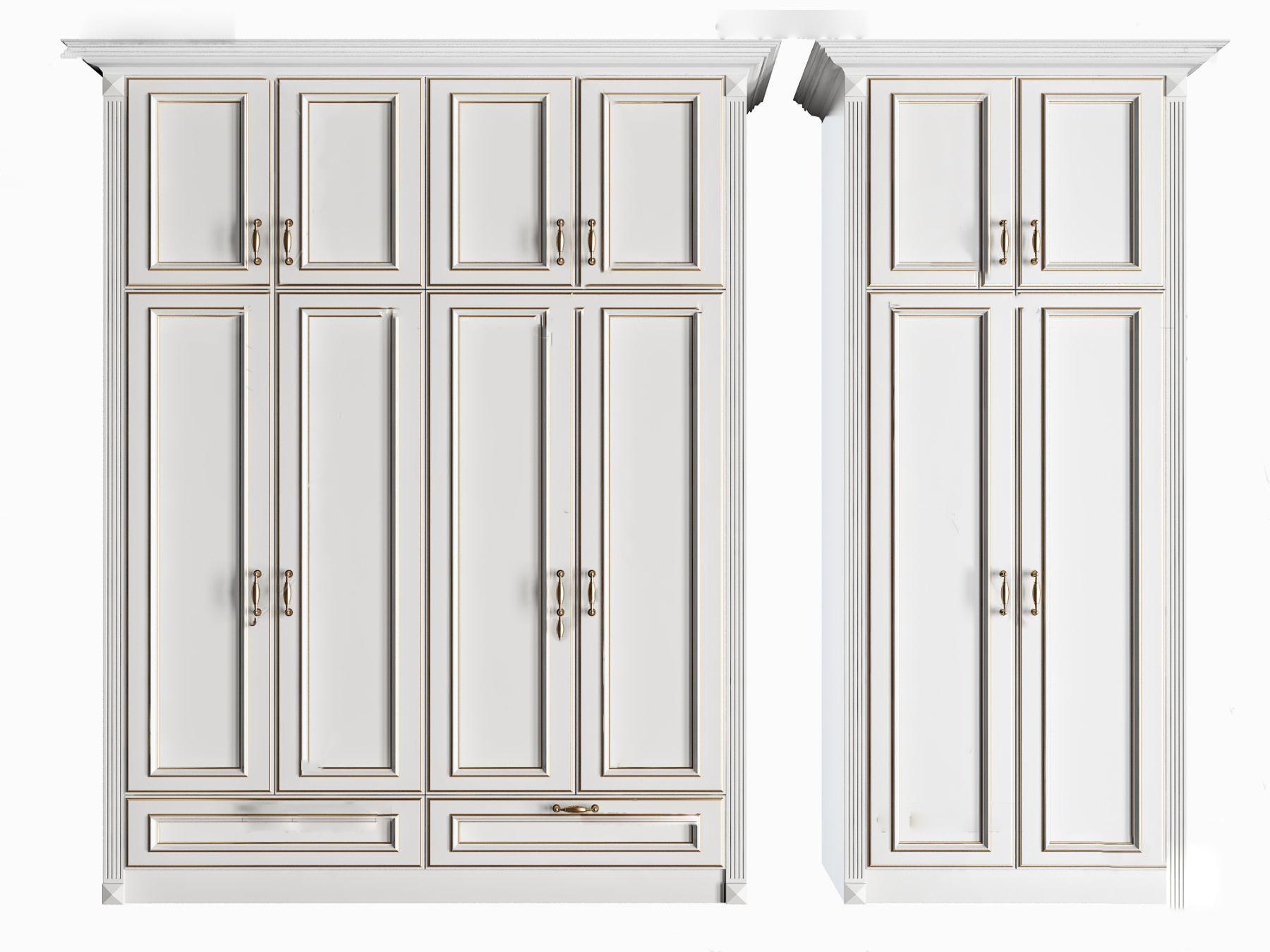 简欧实木衣柜3d模型