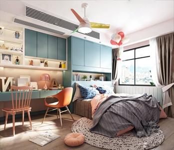 北欧儿童房 北欧儿童房 单人床 书桌 书椅 吊灯 柜子 层架 气球 饰品摆件 挂画 台灯