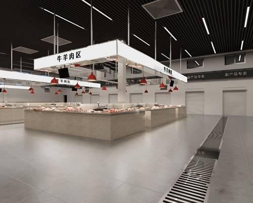 现代菜市场3D模型