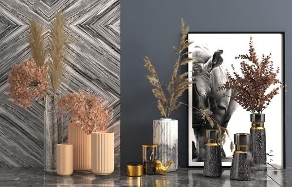 现代轻奢花瓶花卉3d模型