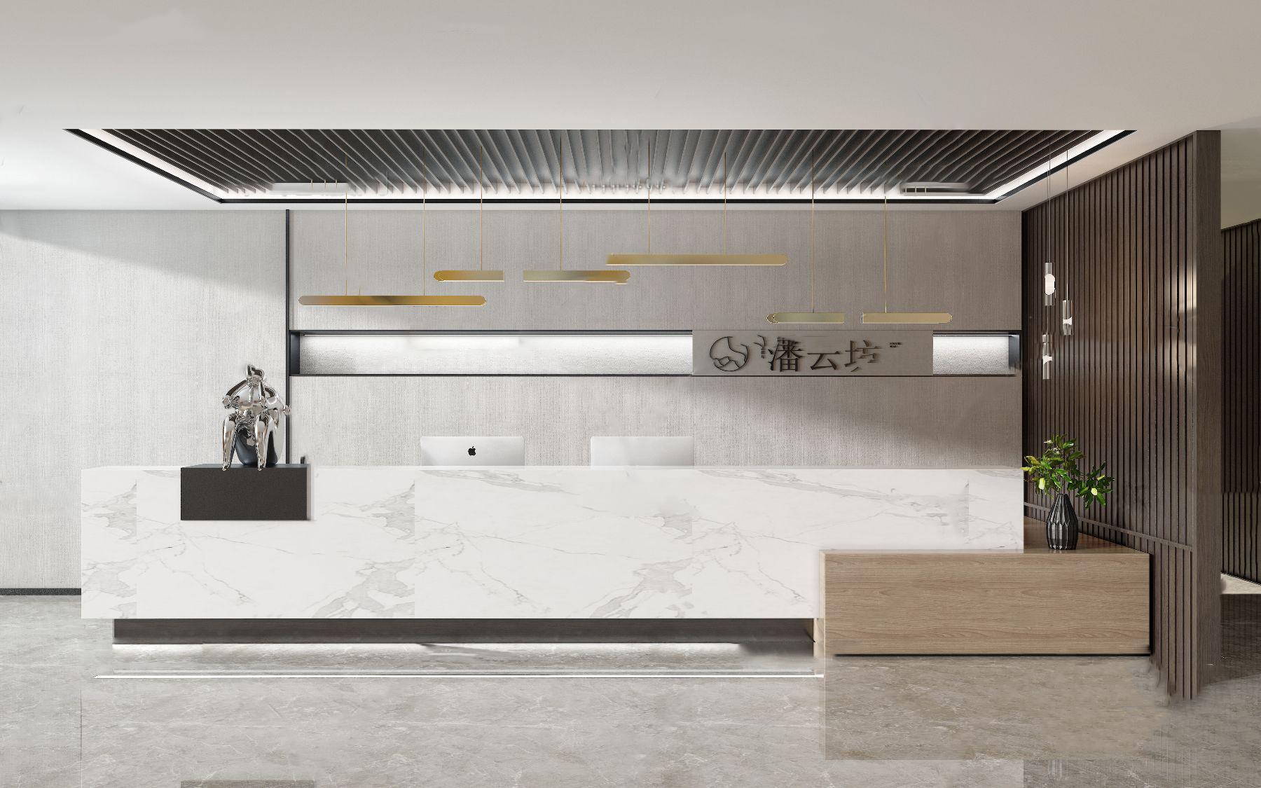现代办公前台接待区3d模型