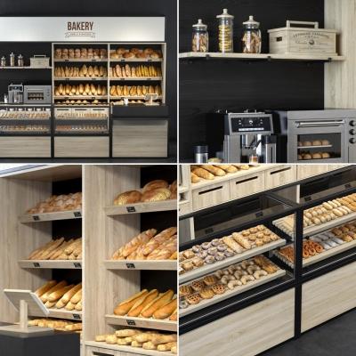 现代实木面包保鲜展示柜3D模型