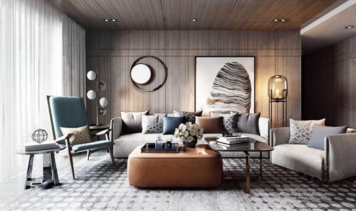 现代客厅 现代客厅 多人沙发 茶几 单椅 单人沙发 角几 挂画 落地灯 墙饰 饰品摆件