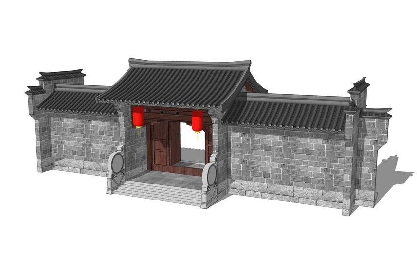 中式庭院大门SU模型