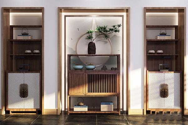 新中式装饰架 新中式装饰架 酒柜 茶叶柜 玄关柜 饰品 摆件 盆栽