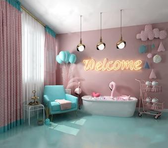 北欧ins风休息区 北欧娱乐室 单人沙发 浴缸 角几 推车 金属吊灯 北欧墙饰