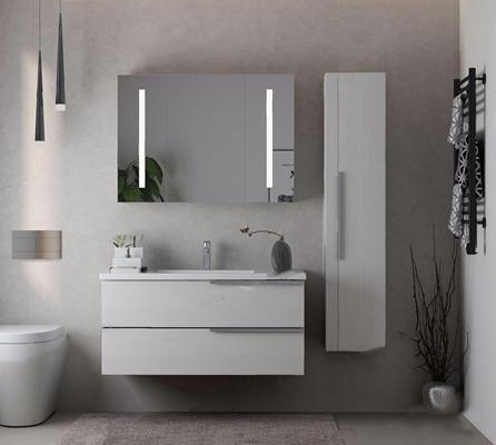 现代浴室柜洗手台 现代卫浴用品 浴室柜 洗手台 马桶 毛巾 毛巾架 吊灯 镜子 干支 洗手池