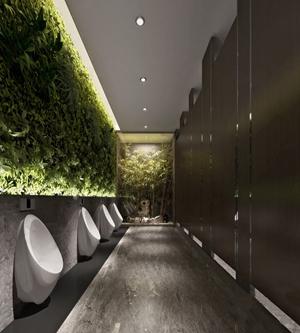 新中式公共男卫生间 新中式其他 公共卫生间 小便斗 植物墙 假山
