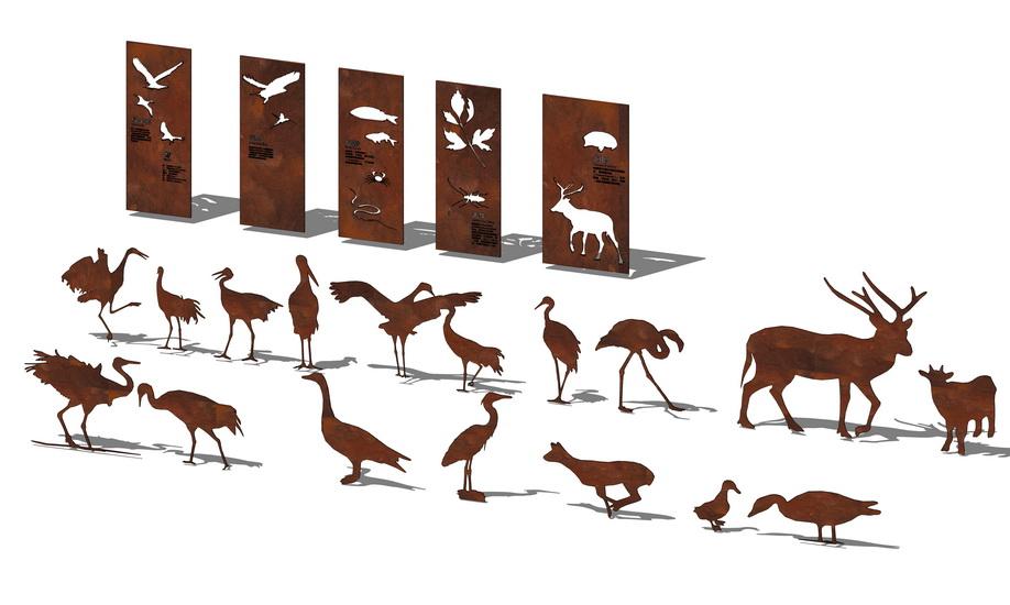 动物剪影锈板景墙SU模型