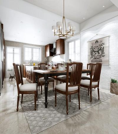 美式餐厅厨房 美式餐厅 厨房 餐桌椅 吊灯 橱柜 吊柜 挂画 餐具 椅子 长桌子