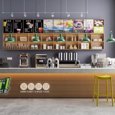 现代饮品店吧台3D模型