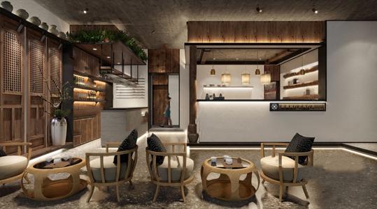 新中式前台 新中式前台 收银台 休闲椅 茶几 酒柜 装饰柜 吧台 吊灯