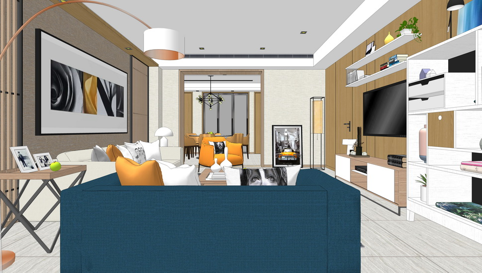 现代轻奢客厅餐厅室内设计SU模型