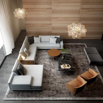 现代沙发茶几吊灯组合3D模型