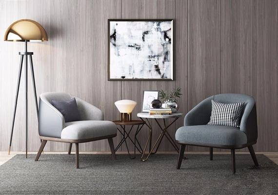现代单人椅 单人沙发椅 茶几 落地灯 台灯 挂画 饰品 摆件