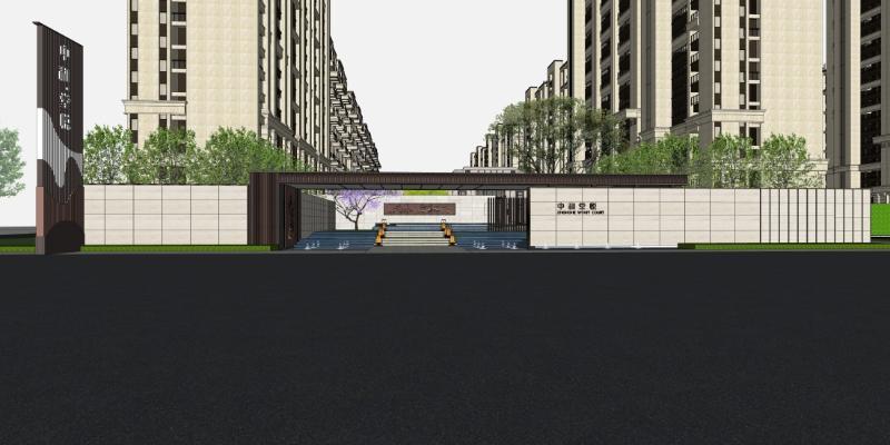 大都会新古典售楼处示范区+高层住宅SU模型