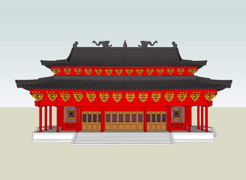 仿古建筑大殿SU模型