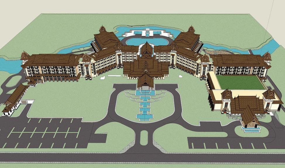 东南亚风格酒店SU模型