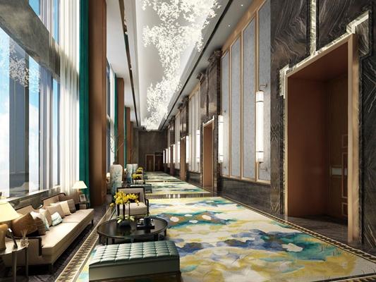 新中式酒店走廊 新中式過道 多人沙發 圓茶幾 凳子 吊燈 窗簾 壁燈 邊幾 臺燈 飾品擺件 酒店走廊