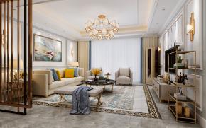 美式客厅餐厅卧室3D模型